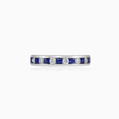 Princess sapphire and diamond band unisex Обручальные кольца Tinge