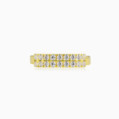 Two-row crystal gold ring woman Rings Lustrous