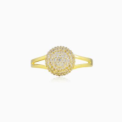 Třpytivý zlatý prsten - kulička s krystaly dámské Prsteny Lustrous