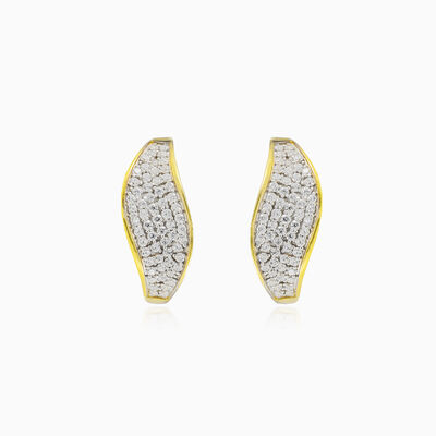 Wave gold crystal earrings woman Earrings Lustrous