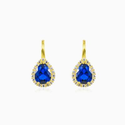 Gold-Ohrringe mit blauem Quarz im Birnenschliff Frauen Ohrringe Royal