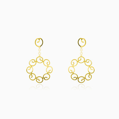 Dangling circles gold earrings woman Earrings Lustrous