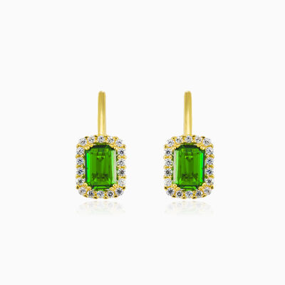 Rectangle green quartz gold earrings woman Earrings