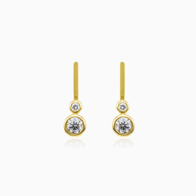 Bezel diamonds gold earrings woman Earrings