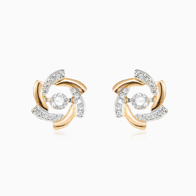 Rose gold flower diamond earrings woman Earrings
