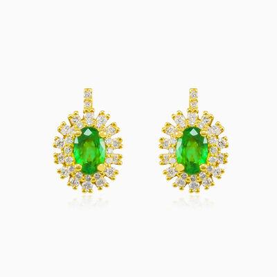 Double halo emerald earrings woman Earrings Royal