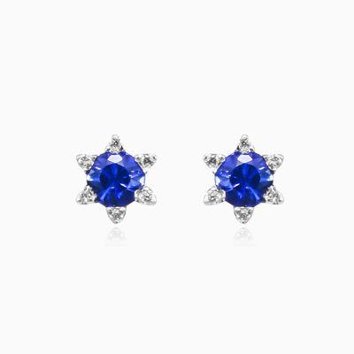 Sapphire flower studs unisex Earrings Tinge