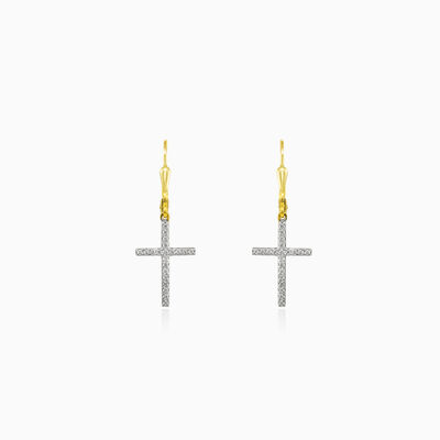 Dangling cross diamond earrings unisex Earrings