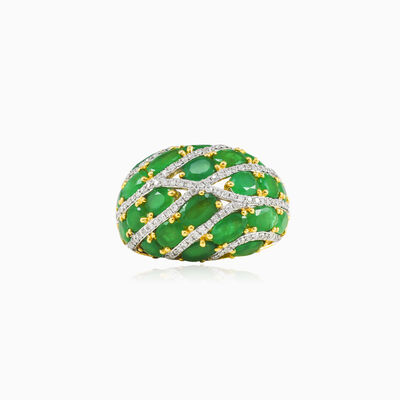 Emerald and diamond bombe ring woman Rings Tinge