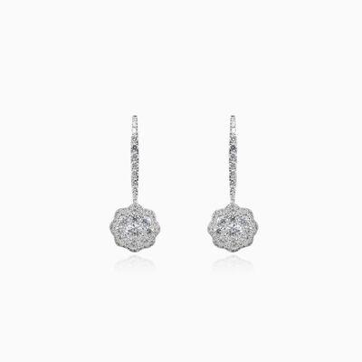 Ohrringe mit baumelnder Diamantblume Frauen Ohrringe Flower