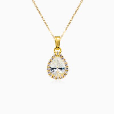 Pear-cut crystal yellow gold pendant woman Pendants Royal