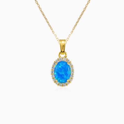 Oval halo blue opal pendant woman Pendants Royal