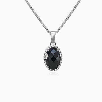 Halo oval onyx white gold pendant woman Pendants