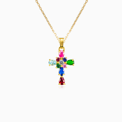 Multicolour gold cross femme Pendentifs