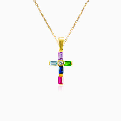 Baguette multicolour gold cross femme Pendentifs