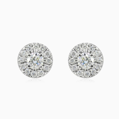 9mm halo diamond studs unisex Earrings Lustrous