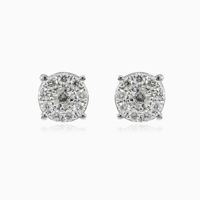 Round halo diamond studs unisex Earrings