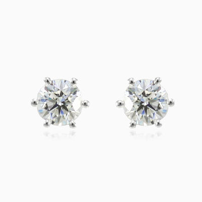 Six prong diamond studs woman Earrings