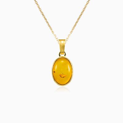 Oval amber gold pendant unisex Pendants Tinge