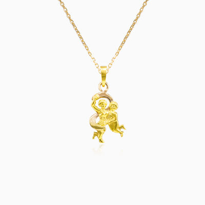 Gold Gemini Zodiac sign pendant unisex Pendants Zodiac signs