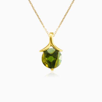 Round moldavite gold pendant woman Pendants Tinge