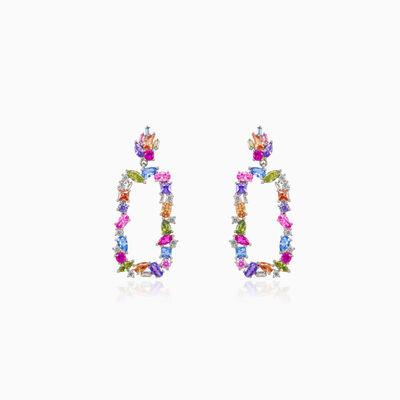 Rechteckige mehrfarbige Ohrringe Frauen Ohrringe Mosaico