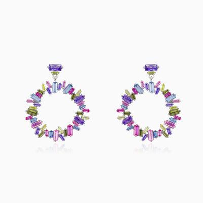 Round multicolor earrings woman Earrings Mosaico