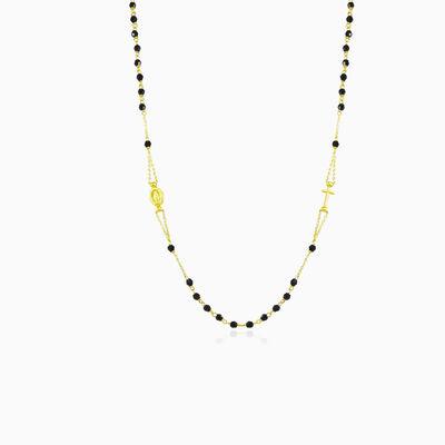 Onyx gold rosary unisex Necklaces Santa Croce