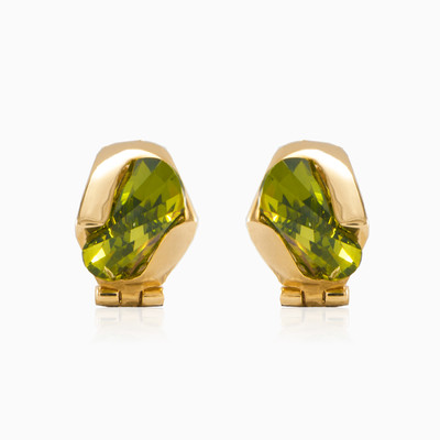 Gold earrings with moldavite woman earrings MC Gold