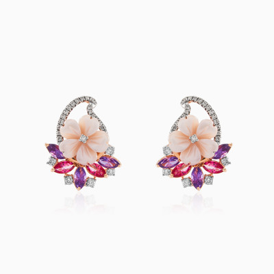 Rose gold earrings with gemstones woman earrings MC Diamonds