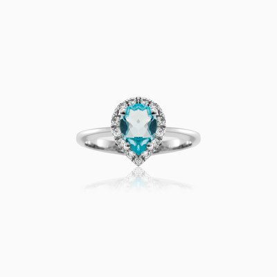 Pear-cut Topaz engagement ring woman engagement rings