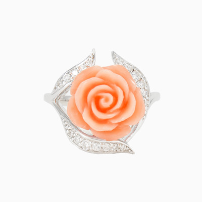 Coral rose ring with crystals woman rings MC Silver