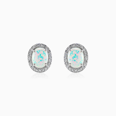 Silver Earrings with Oval white Opal and Crystals woman earrings MC Silver