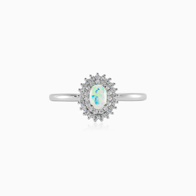 Silver ring with White opal woman rings MC Silver