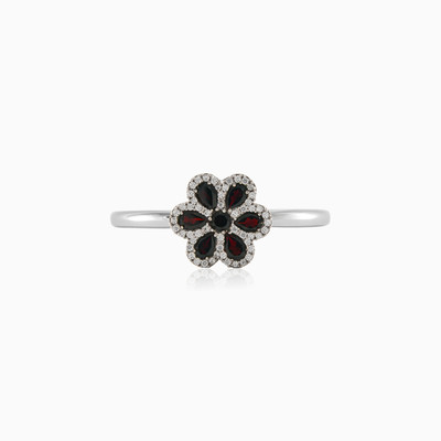 Flower silver Ring with Garnets and Crystals Женские Кольца MC Silver