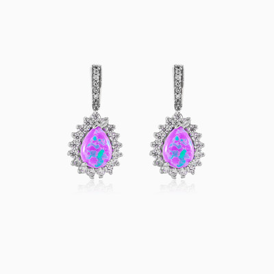 Drop silver earrings with rose Opal and Crystals woman earrings