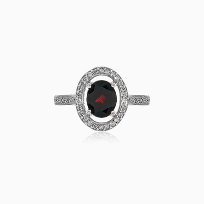 Silver ring with Oval-cut Garnet and Crystals woman rings