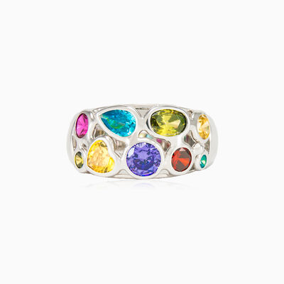 Mosaico white gold band ring woman rings Mosaico