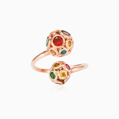 Mosaico rose beads open ring woman rings Mosaico