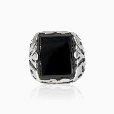 Handcrafted rectangle onyx man rings NT
