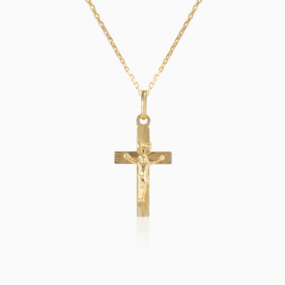 Crucifix yellow gold pendant unisex pendants Santa Croce
