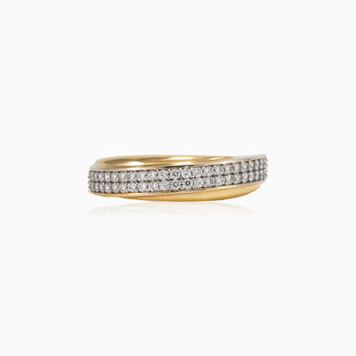 Double row band ring mujer anillos de boda Lustrous